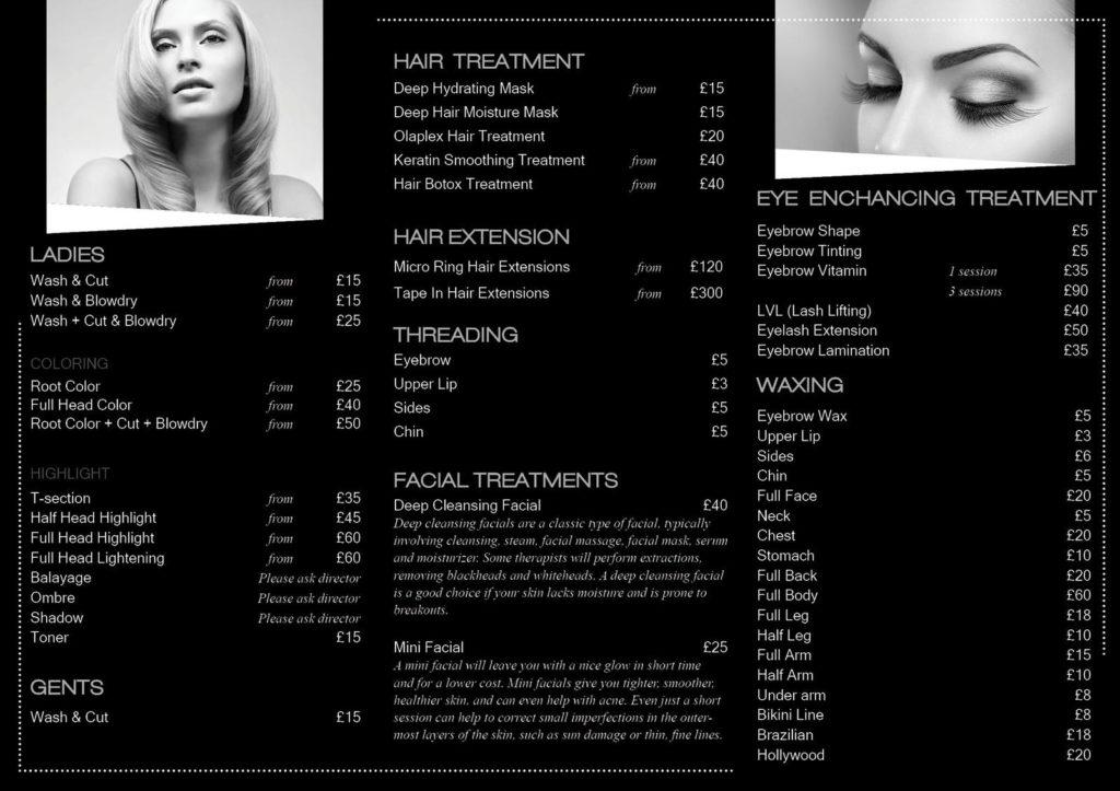 Mila hair and beauty price list