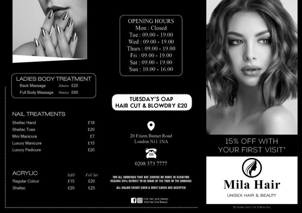 Mila hair and beauty price list 2